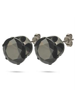 Boucles d'oreilles en acier poli noir, pierre noire