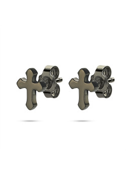 Boucles d'oreilles en acier poli, croix noire
