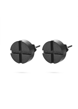 Black stainless steel earrings, round with cross
