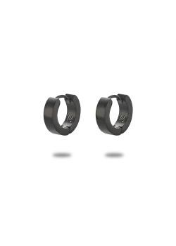 Oorbellen in edelstaal, oorring, 12 mm, mat, zwart