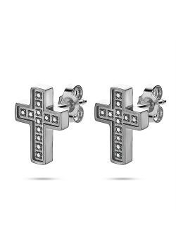 Boucles d'oreilles en acier poli, croix noire, pierres