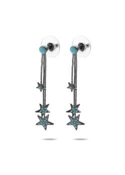 High fashion oorbellen, turquoise sterren