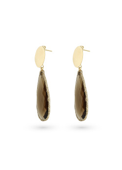 High fashion earrings, brown stone, drop, oval