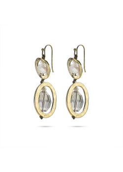High fashion Oorbellen, koperkleurige ovalen, grijze stenen