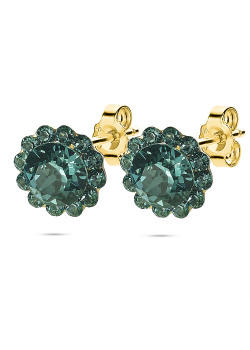 High fashion earrings, flower with light blue crystals