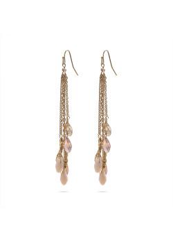 High fashion Oorbellen, 6 goudkleurige kettingen, 6 roze, witte druppels