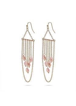 High fashion Oorbellen, goudkleurige kettingen, 5 roze druppels