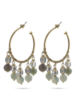 High fashion Oorbellen, goudkleurige creool met turqoise, grijze stenen