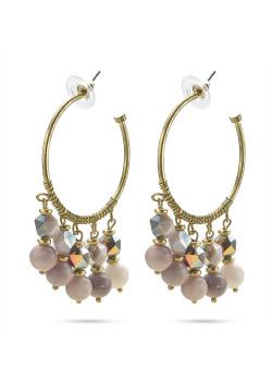 High fashion Oorbellen, creool met roze-paarse stenen