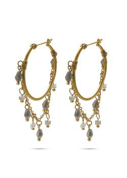 Goudkleurige high fashion oorbellen, oorring met ketting en grijze steentjes