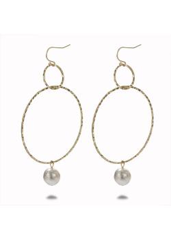 Boucles d'oreilles haute fantaisie couleur or, 2 cercles, perle