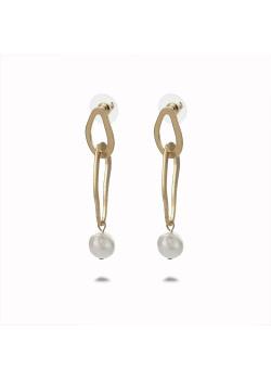 Gold-coloured high fashion earrings, pearl