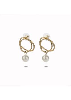 High fashion earrings, double circle, pearl