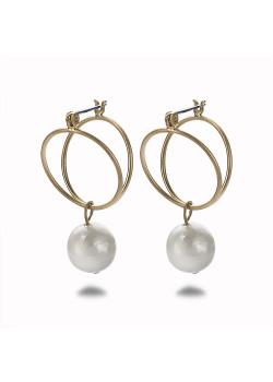 Boucles d'oreilles haute fantaisie couleur or, double cercle, perle