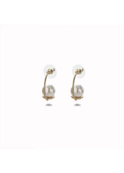 Boucles d'oreilles haute fantaisie couleur or, demi anneau, perle
