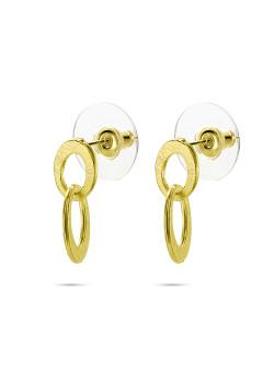 High fashion Oorbellen, 2 open ovaaltjes in gekrast goudkleur