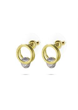 High fashion Oorbellen, gekrast goudkleurig cirkeltje met 1 kristal