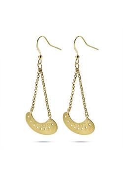 High fashion Oorbellen, abstract aan 2 kettingen, gekrast goudkleur