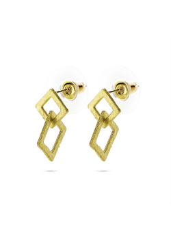 High fashion Oorbellen, 2 open ruitjes, gekrast goudkleur
