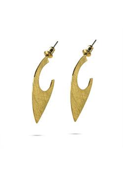 High fashion Oorbellen, open druppel, gekrast goudkleur