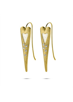 High fashion gold-colored earrings, pearl heart, crystals