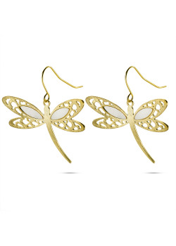High fashion gold-colored pearl dragonfly earrings