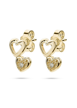 18ct gold plated earrings, 2 hearts