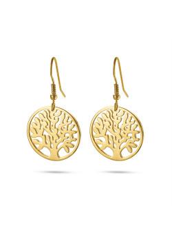 Oorbellen in goudkleurig edelstaal, levensboom aan haak