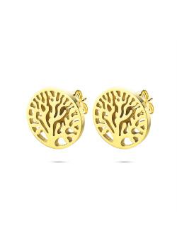 Oorbellen in goudkleurig edelstaal, levensboom