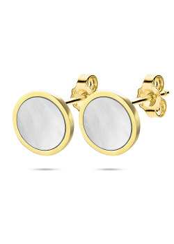 Gold-coloured stainless steel earrings, round in mother-of-pearl