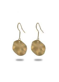 Oorbellen in goudkleurig edelstaal, ronde, mat, gegolfd