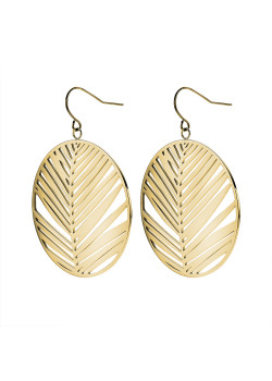 Gold-coloured stainless steel earrings, round leaf on hook