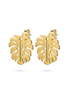 Oorbellen in goudkleurig edelstaal, blad