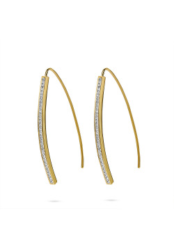 Gold-coloured stainless steel earrings, hook with crystals