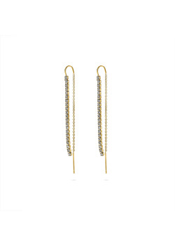 Gold-coloured stainless steel earrings, crystals on chains