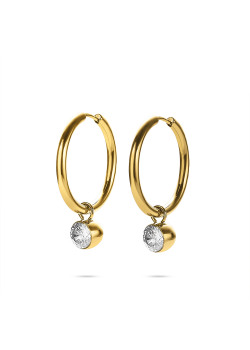 Gold-coloured stainless steel earrings, hoop earring with crystal pendent