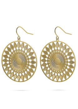 Gold-coloured stainless steel earrings, sun