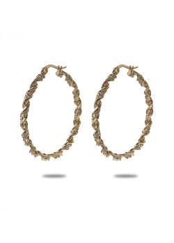 Oorbellen in goudkleurig edelstaal, oorring, gedraaid, 3,5 cm