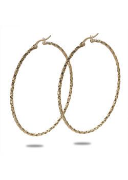 Boucles d'oreilles en acier poli couleur or, anneaux, martelées, 5,5 cm