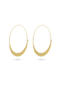 Gold-coloured stainless steel earrings, hammered hoops, 4 cm