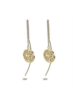 Oorbellen in goudkleurig edelstaal, open bloem, ketting