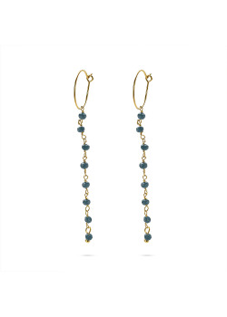 Gold-coloured stainless steel earrings, hoop earring with blue stones