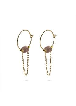 Oorbellen in goudkleurig edelstaal, oorring met ketting en paars steentje
