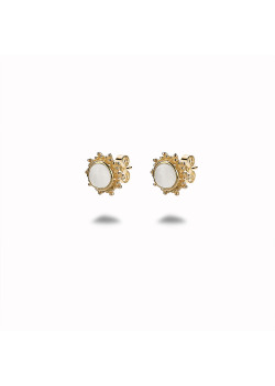 18ct gold plated silver earrings, sun, white stone