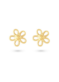 18ct gold plated silver earrings, small flower