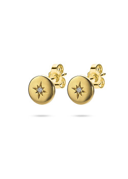 18ct gold plated silver earring, small round with star and zirconia
