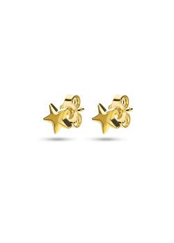 Boucles d'oreilles en argent, petite étoile couleur or