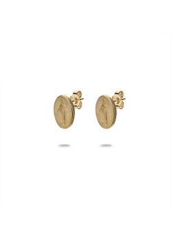 18ct gold plated silver earrings, maria oval