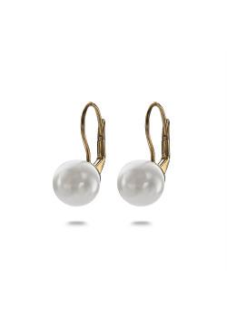 Boucles d'oreilles en argent plaqué or 18ct, perle sur crochet