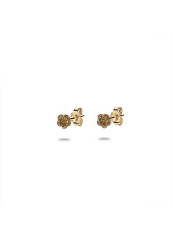 18ct gold plated silver earrings, small rose